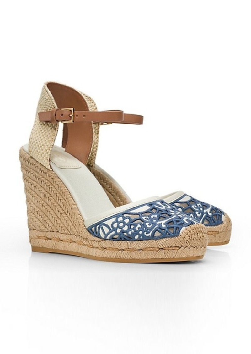tory burch lucia lace wedge espadrille shoes   shop it to me