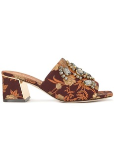 Martine jacquard block-heel mules