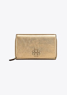 Tory Burch MCGRAW METALLIC FLAT WALLET CROSS-BODY