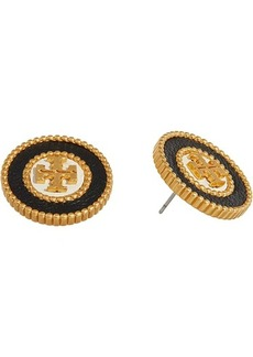 Tory Burch Milgrain Logo Stud Earrings