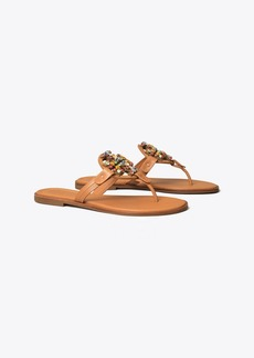 Tory Burch Miller Crystal-Logo Sandal, Leather