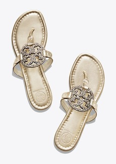 Tory Burch MILLER EMBELLISHED SANDAL, METALLIC LEATHER
