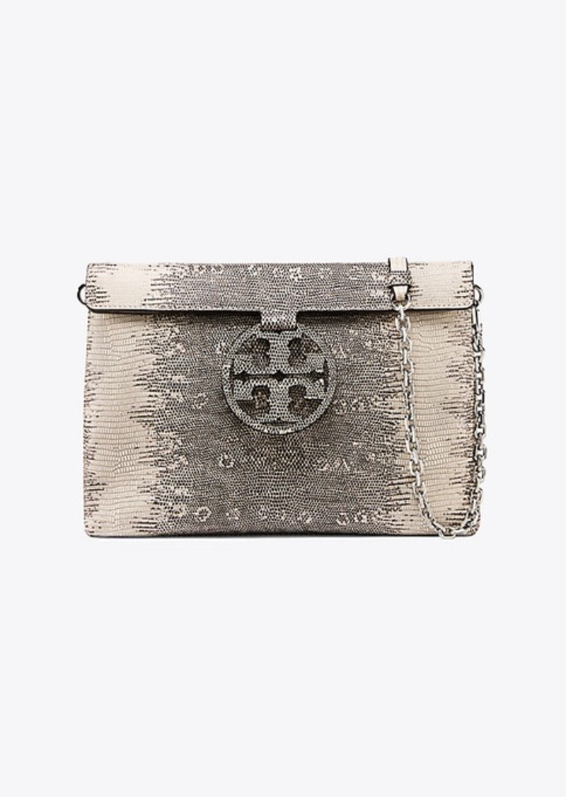 93451788228 Tory Burch MILLER EMBOSSED CONVERTIBLE FLAP CLUTCH