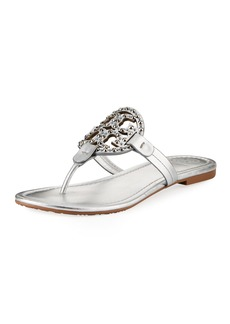 Tory Burch Miller Flat Metallic Leather Slide Sandals with Embellished Logo