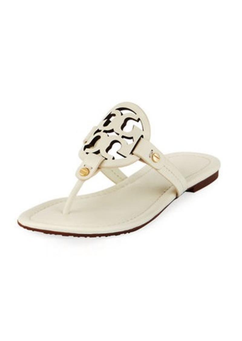 d53365e9cd2f0b Tory Burch Miller Leather Logo Flat Slide Sandals