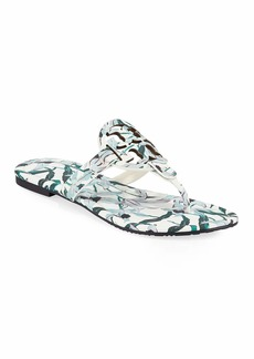 Tory Burch Miller Medallion Floral-Print Leather Flat Thong Sandals