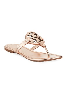 Tory Burch Miller Medallion Metallic Leather Flat Slide Sandal