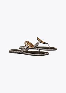 Tory Burch Miller Metal-Logo Sandal, Embossed Leather