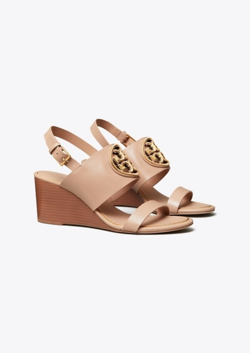 Tory Burch MILLER METAL-LOGO WEDGE SANDAL, LEATHER