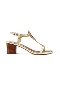 MILLER MID-HEEL SANDAL, METALLIC LEATHER