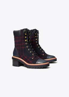 Tory Burch MILLER PLAID LUG SOLE BOOTIE