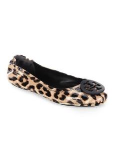 Minnie Leopard-Print Patent Leather Travel Ballet Flats