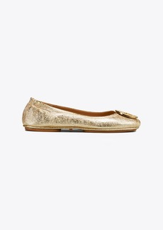 Tory Burch MINNIE METAL-LOGO TRAVEL BALLET FLAT, METALLIC LEATHER
