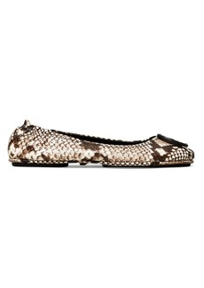 Tory Burch Minnie Snakeskin-Embossed Leather Travel Ballet Flats