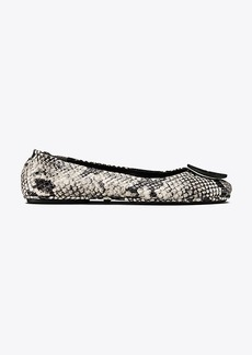 MINNIE TRAVEL BALLET FLAT, EMBOSSED LEATHER