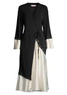 Tory Burch Mixed Material Wrap Dress