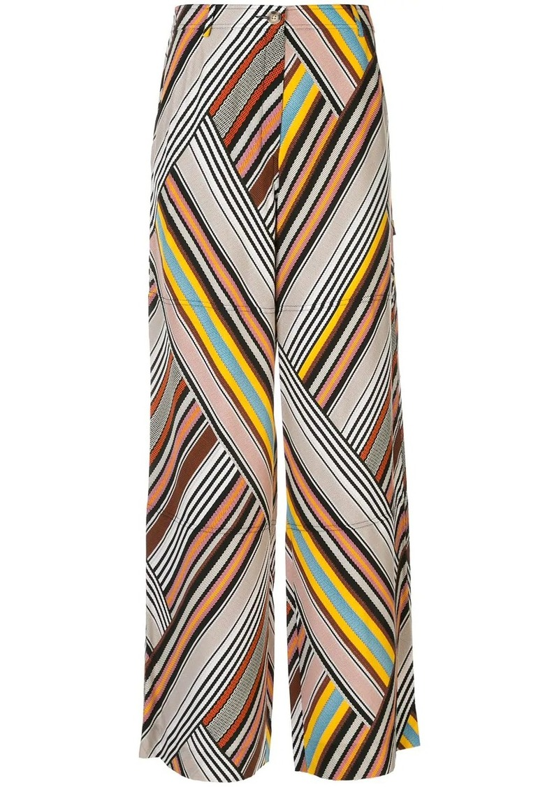 Tory Burch mixed stripe trousers