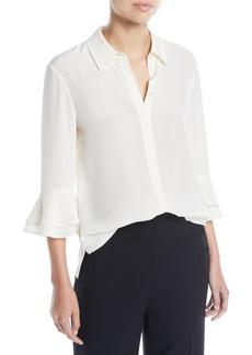 Tory Burch Monica Ruffle-Sleeve Silk Top