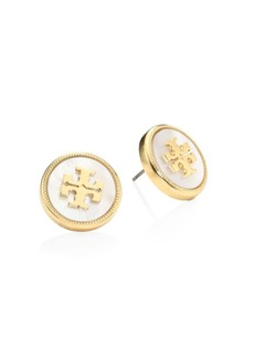 Tory Burch Mother-Of-Pearl Logo Stud Earrings