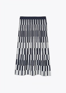 Tory Burch Motley-Check Tech Knit Pleated Skirt