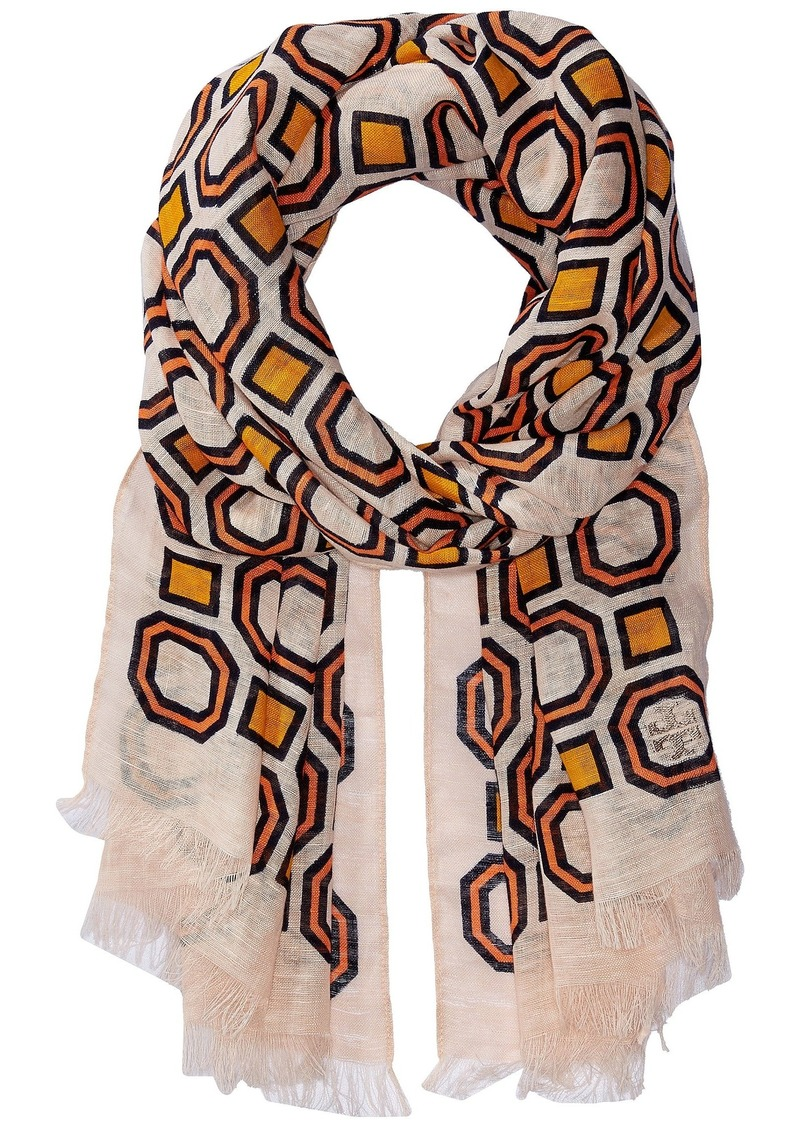 Tory Burch Octagon Linen Oblong Scarf