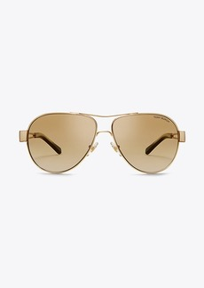 Tory Burch OPEN-TEMPLE PILOT SUNGLASSES