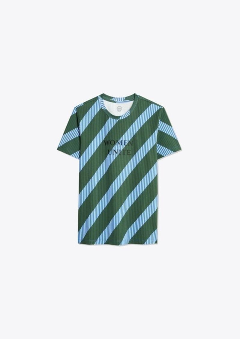 Tory Burch Overprinted Stripe T-Shirt