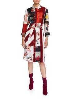 Tory Burch Patchwork Button-Down Long-Sleeve Silk Shirtdress