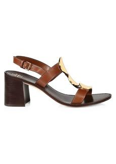 Tory Burch Patos Disk-Embellished Leather Slingback Sandals