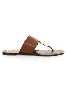 Tory Burch Patos Disk-Embellished Leather Thong Sandals