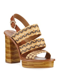 Tory Burch Patos Woven Raffia Platform Sandals