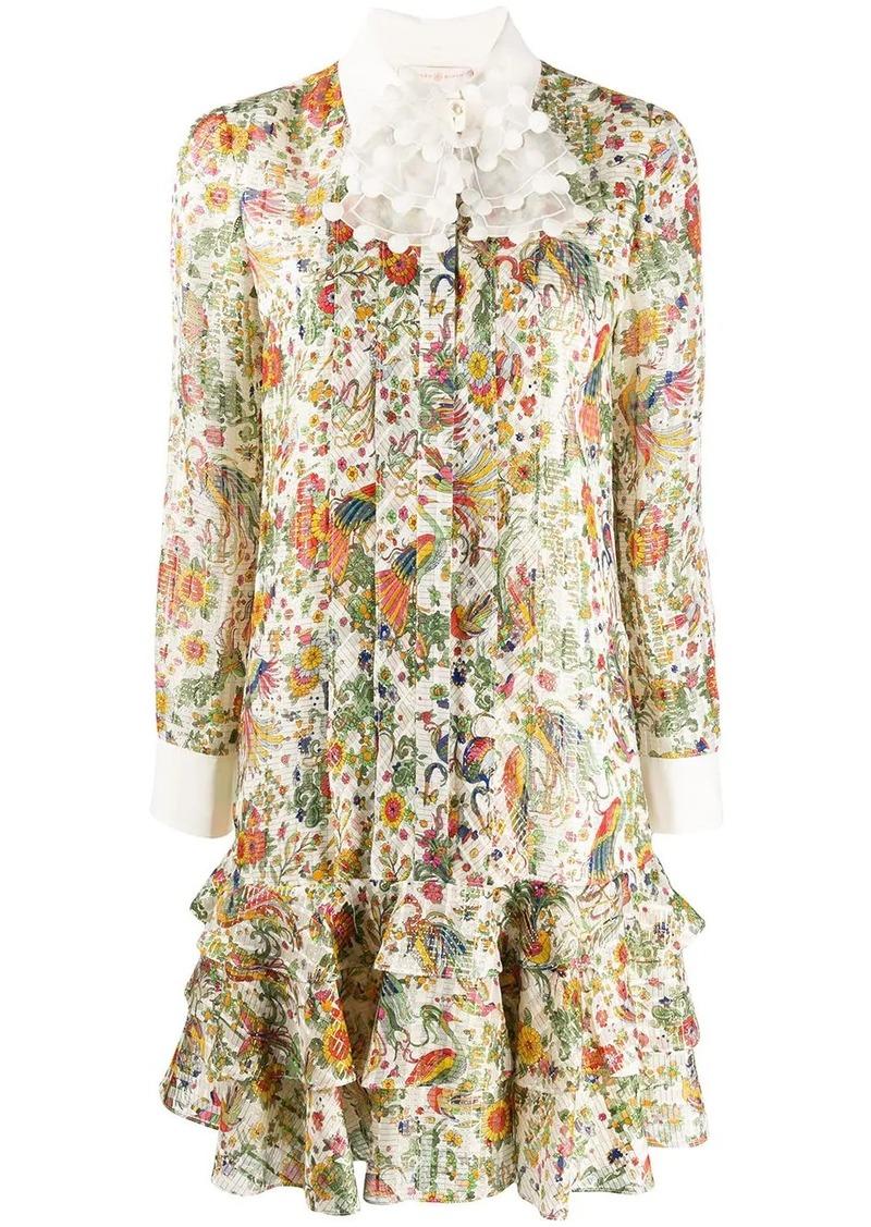 Tory Burch peacock print shirt dress
