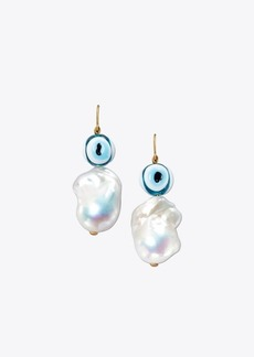 Tory Burch PEARL & EVIL EYE EARRING
