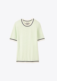 Tory Burch PERFORMANCE CASHMERE SHORT-SLEEVE SWEATER