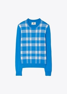 Tory Burch Performance Merino Blanket Plaid Sweater