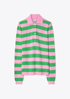 Tory Burch PERFORMANCE MERINO STRIPED POLO SWEATER