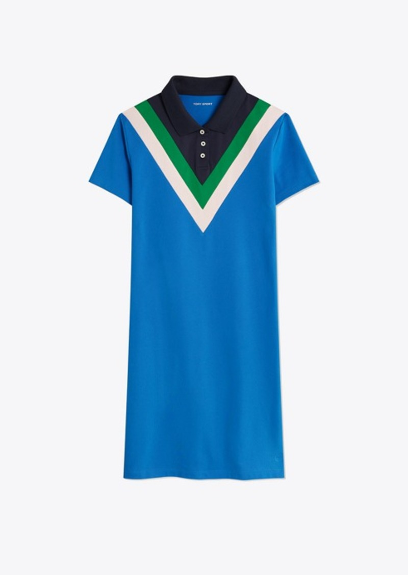 Tory Burch PERFORMANCE PIQUÉ CHEVRON POLO DRESS