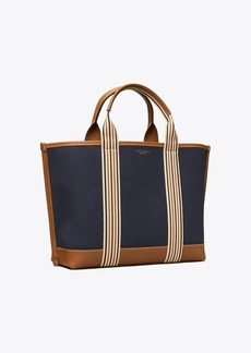 Tory Burch PERRY MULTI STRIPE CANVAS TRIPLE-COMPARTMENT TOTE