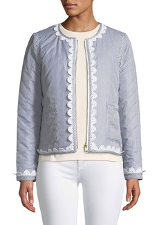 Tory Burch Petra Long-Sleeve Zip-Front Reversible Jacket w/ Patch Pockets