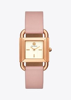 Tory Burch Phipps Watch, Pink Leather/Rose Gold-Tone, 29 X 42 MM