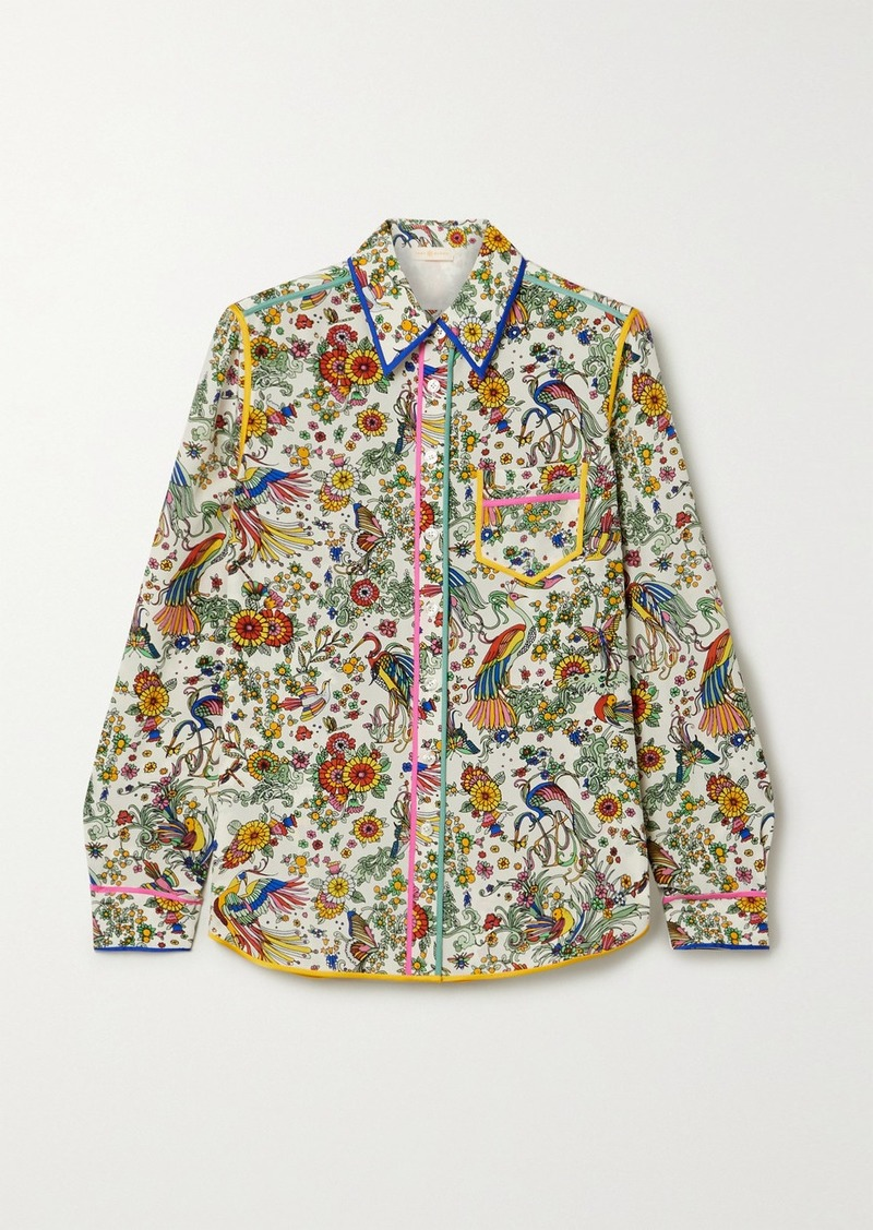 Tory Burch Piped Printed Silk Crepe De Chine Shirt