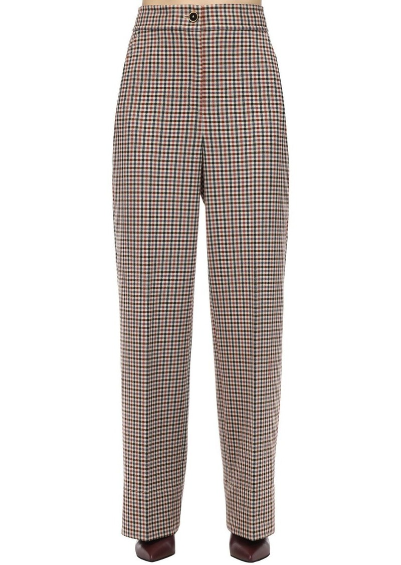 Tory Burch Plaid High Waist Wool Blend Pants