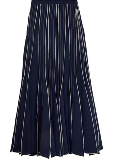 Tory Burch Pleated Embroidered Silk-crepe Maxi Skirt