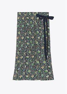 Tory Burch Pleated Silk Wrap Skirt