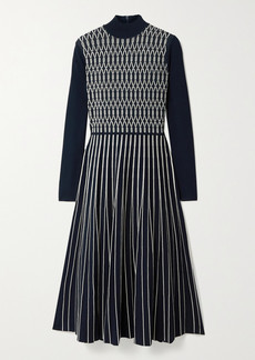 Tory Burch Pleated Stretch Jacquard-knit Midi Dress