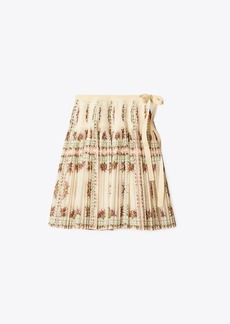 Tory Burch Pleated Tie-Wrap Skirt