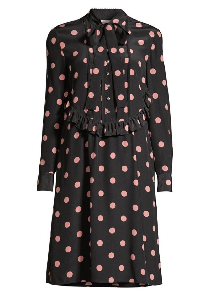 Tory Burch Polka Dot Ruffle Bow Silk Shirtdress