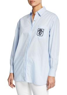 Tory Burch Poplin Button-Front Long-Sleeve Striped Back Shirt