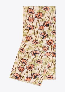 Tory Burch POPPIES BLOOM OBLONG SCARF