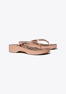 Tory Burch PRINTED CARVED-WEDGE FLIP-FLOP